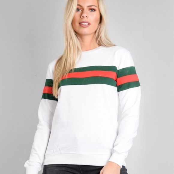 Tops - 🌵White Sweatshirt with Red and Dark Green Stripes